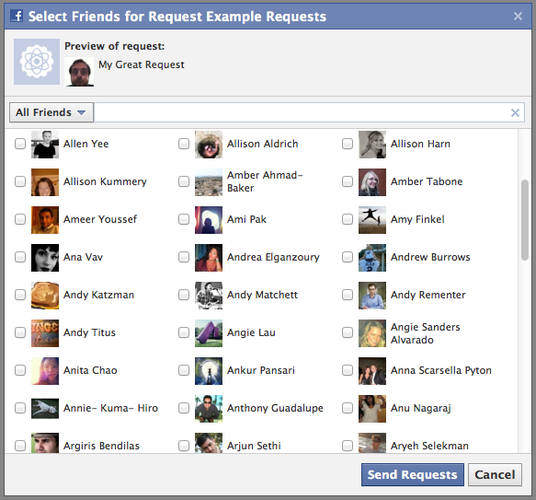 Facebook Request Dialog