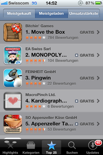 #3 of all «FREE Apps in Switzerland» in the iTunes App Store